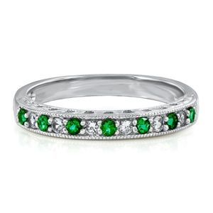 Lab-Created Emerald & White Sapphire Stack Ring